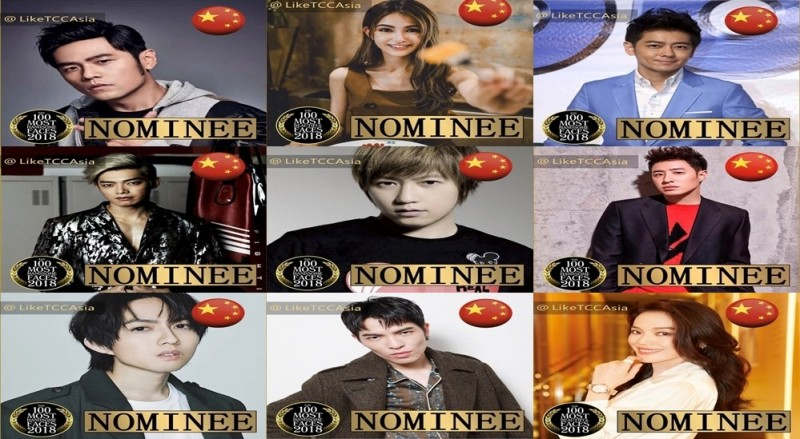 「TC Candler」亞太區票選活動中,將我國9名知名藝人都被冠上中國國旗。(圖擷取自Instagram)