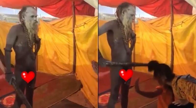 印度教信女用手拍打掛在男性生殖器官上的鈴鐺,全程被旁人錄影PO網。(圖擷取自影片)