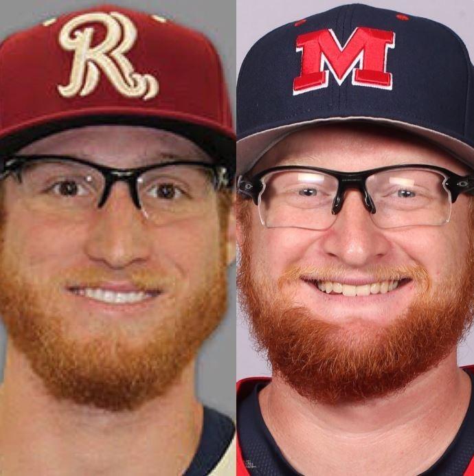 美國職棒小聯盟2名球員姓名都叫做布雷迪·費格爾(Brady Feigl),身高也都是6呎4吋(約193公分),連眼鏡和鬍鬚也很像,因此做了DNA比對。(圖擷自@OleMissBSB推特)