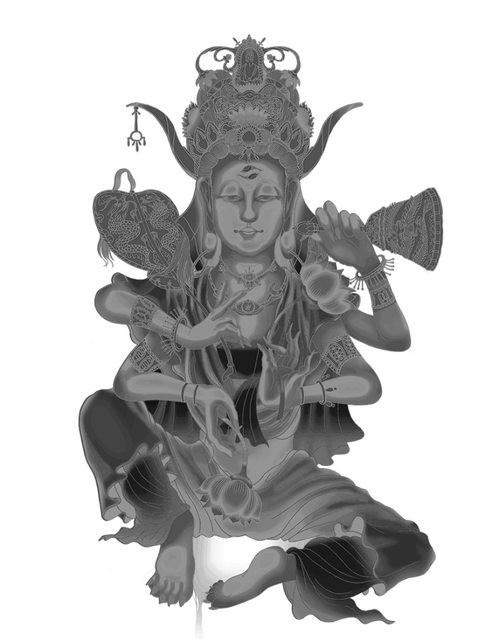 遊戲中的慈孤觀音造型邪門,除了面目詭異、手腳指甲銳利如鋒、眉心有佛教的「雙魚」圖案,手持佛、道兩教法器,頭上還頂有牛角,讓人感覺並非善類。(圖取自PTT)