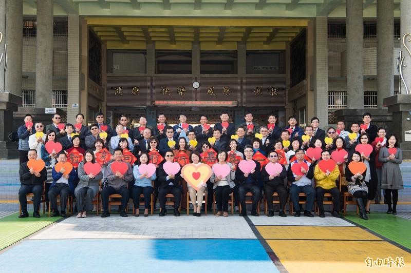 嘉義市長黃敏惠今天參加「107學年度第二學期公私立國民中小學校長會議」。(記者丁偉杰攝)