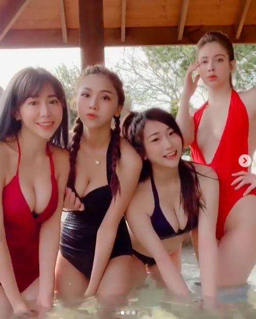 4個女神一起上綜藝節目《玩很大》,穿著泳裝大秀火辣身材。(圖擷取自anechka_annie IG)