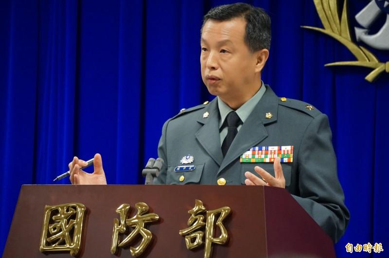 國防部發言人陳中吉召開記者會。(記者涂鉅旻攝)