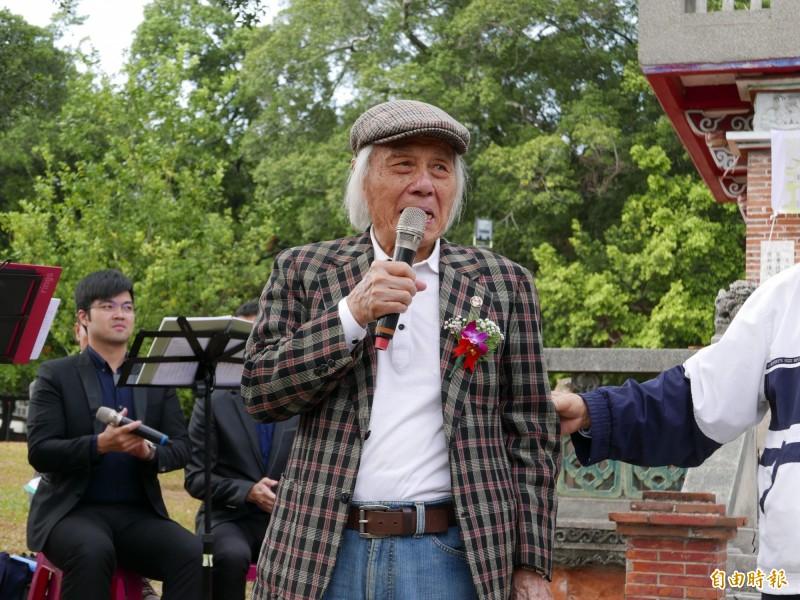 鍾逸人參加228和平紀念追思禮拜,敘述228經過。(記者蔡淑媛攝)