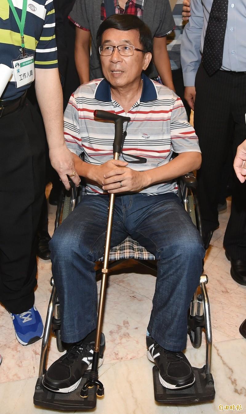 前總統陳水扁明天(3月1日)上午將到台中市大里區的908台灣國總會長周崇德之母公祭會場致哀。(資料照)