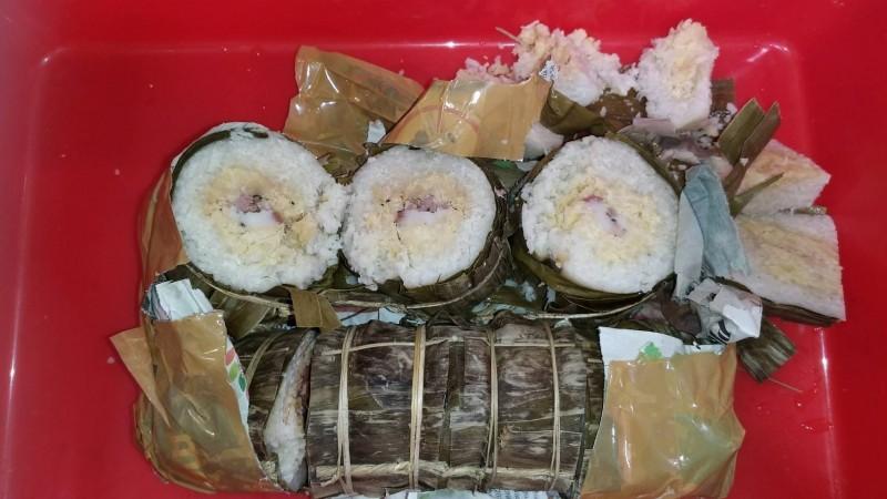 越南旅客攜帶含有豬肉的肉粽來台被查獲。(防檢局提供)