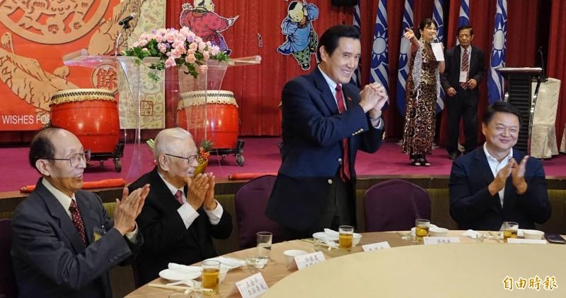 前總統馬英九2日出席新同盟會春節團拜致詞。(記者劉信德攝)