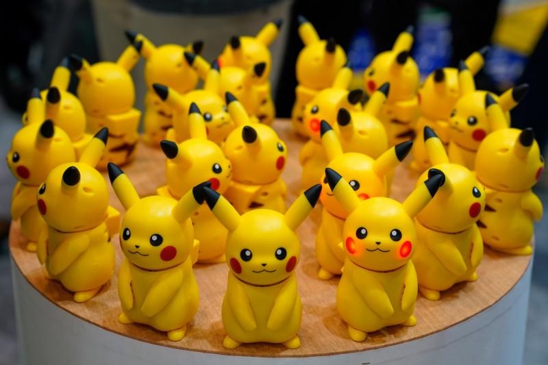 知名卡通「神奇寶貝」(Pokemon,又稱精靈寶可夢)中的虛構生物「皮卡丘」是黃色的。(歐新社)