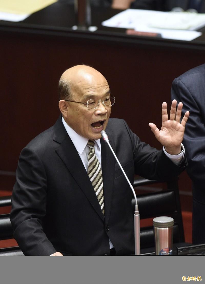 行政院長蘇貞昌5日赴立法院接受立委質詢。(記者羅沛德攝)