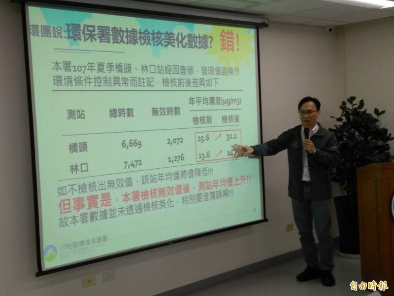 環保署監資處副處長王嶽斌說明,以環團質疑的林口站、橋頭站為例,兩監測站檢核之後,PM2.5濃度反而上升 ,可證明並未美化數據。  (記者劉力仁攝)