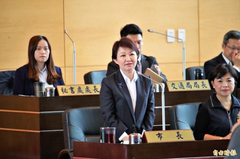 台中市長盧秀燕表示,柯呈枋參選不在她意料中。(記者張菁雅攝)