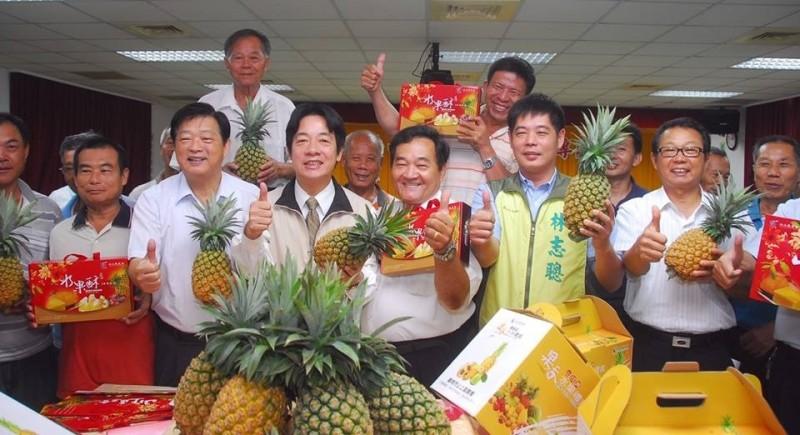 2012年7月24日,台南市鳳梨外銷生產專區成立,當時任台南市長的賴清德站台宣傳。 (擷自臉書)