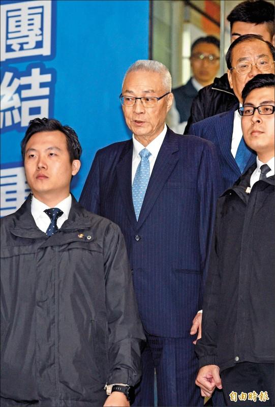 是否參選總統,國民黨主席吳敦義表示,會在四月初到五月初做決定。(記者羅沛德攝)
