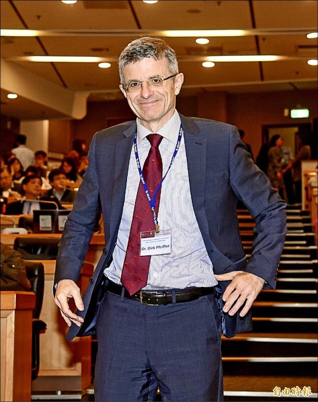倫敦大學皇家獸醫學院及香港城市大學教授菲佛(Dirk Pfeiffer)。(記者黃耀徵攝)