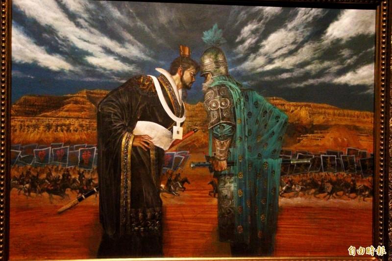 故宮南院「赤壁與三國群英形象」特展中鄭問描繪官渡之戰的作品。(記者林宜樟攝)