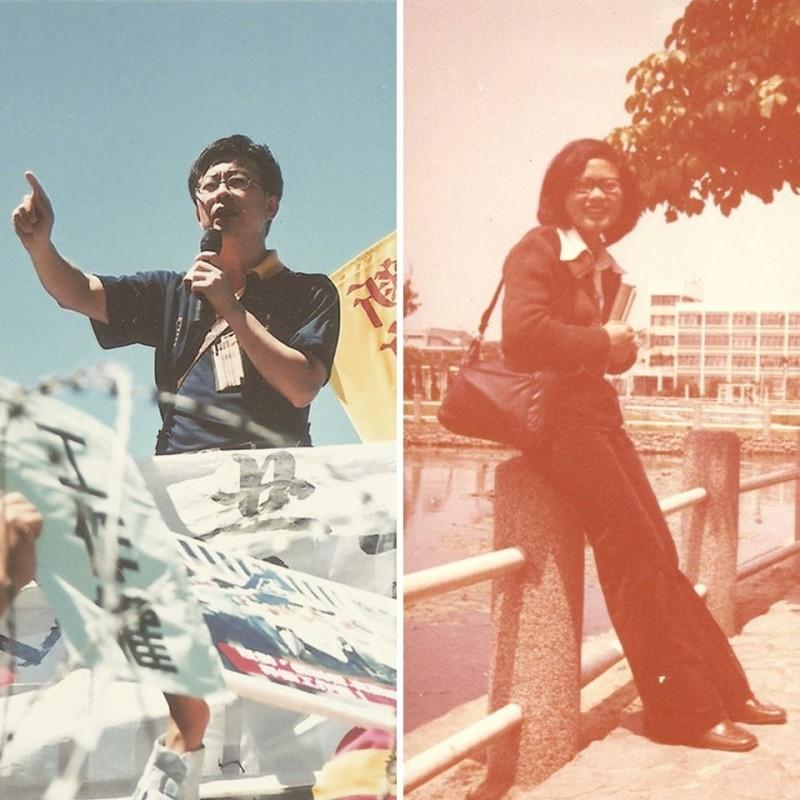 沒想到當年這名為勞工奮鬥的青年,竟然是本月16日將參加立委補選的候選人-郭國文。(圖取自蔡英文臉書)