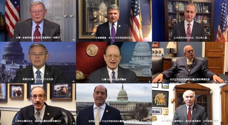 美國參、眾議院議員們共同錄製影片,為台灣發聲同時警告中國。(圖擷取自駐美代表處)