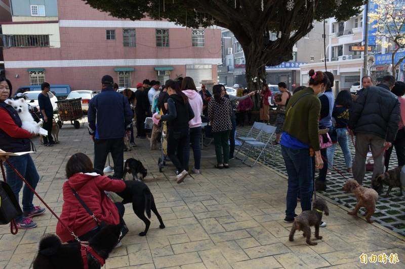 西螺鎮公所廣場免費狂犬病疫苗施打開跑。(記者林國賢攝)