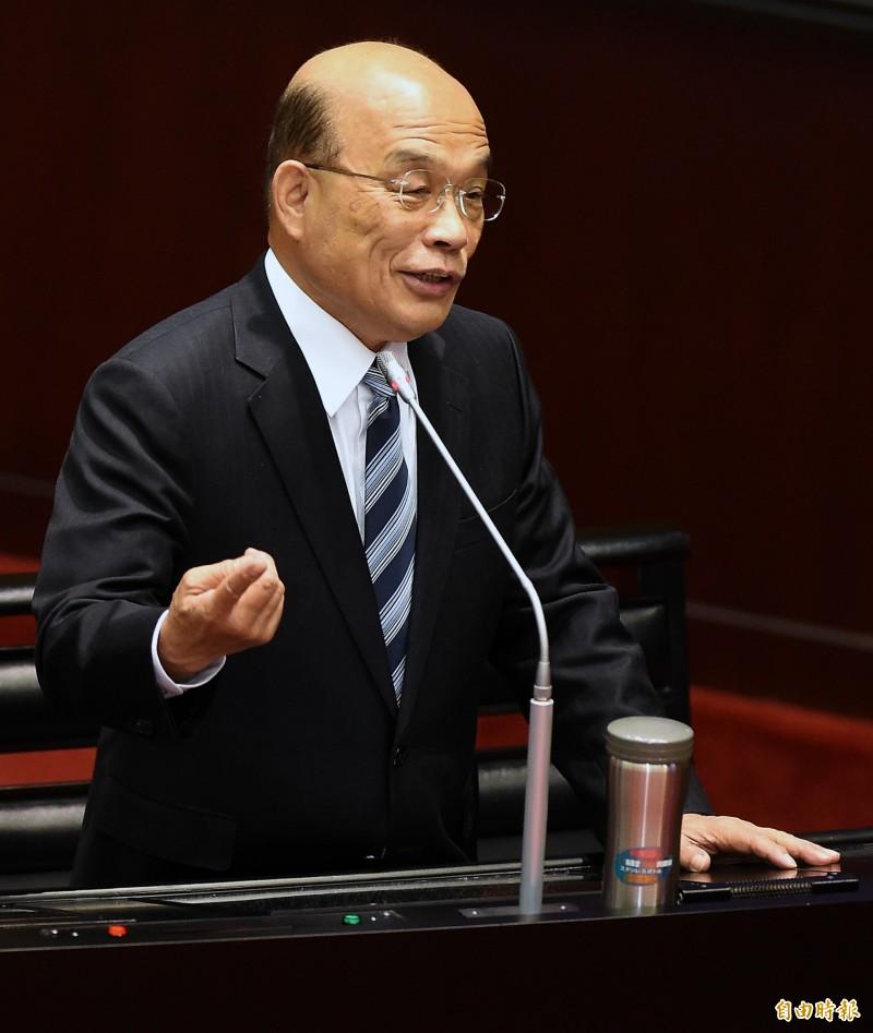 行政院長蘇貞昌12日赴立院接受施政總質詢。(記者朱沛雄攝)