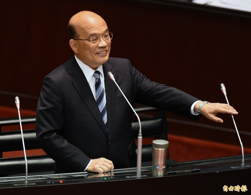 行政院長蘇貞昌立法院接受質詢時談及選情。(記者朱沛雄攝)