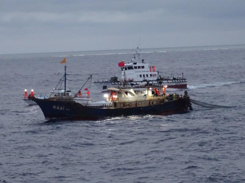 中國漁船(前)侵入東沙海域濫捕,被高雄海巡隊(後)監控蒐證。(記者洪定宏翻攝)