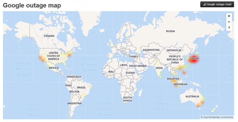 受災地區最嚴重為日本,其於如美、墨、澳、南美等地,全球都出現故障。(圖翻攝自google outage map)