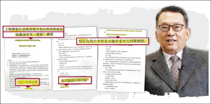上投摩根基金管理公司昨日發布最新的基金投資招募說明書(取自網路),仍把台大教授李存修(黃國昌委員辦公室提供)列為該公司獨董。