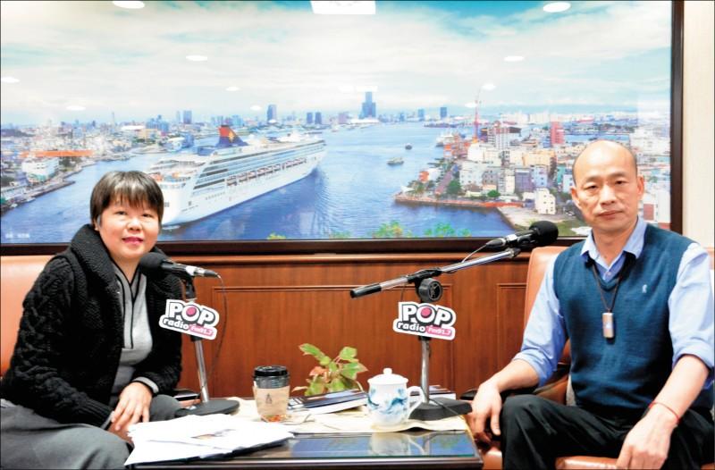 名嘴黃光芹(左)日前專訪高雄市長韓國瑜(右),意外引發支持韓選總統的「韓粉」攻擊。(圖:POP Radio提供)