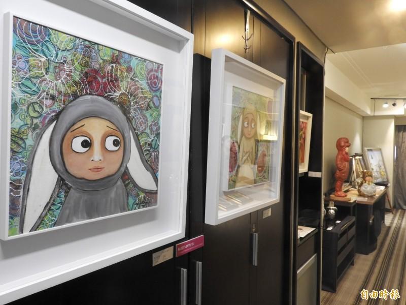 大億麗緻酒店客房化身畫廊,精彩呈現藝術作品。(記者洪瑞琴攝)