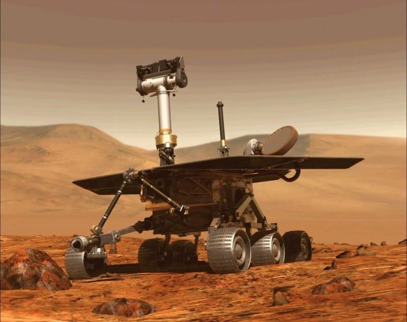 NASA上月宣布,服役15年的火星探測車「機會號」(見圖)任務結束。(法新社資料照)