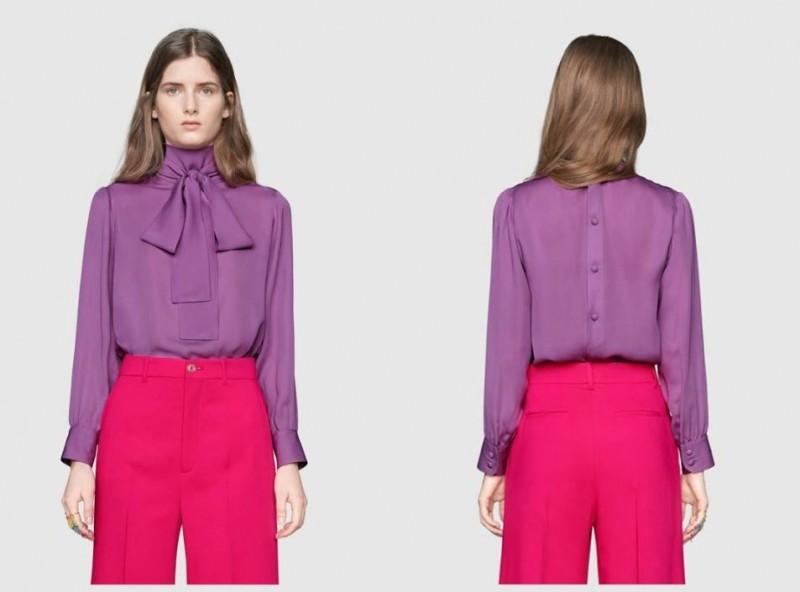 英國凱特王妃週二出席活動時,上半身穿著知名品牌Gucci的1款紫色絲質蝴蝶結襯衫,沒想到卻被眼尖的網友和記者們發現,衣服竟然穿反了。(圖擷取自Gucci網站)