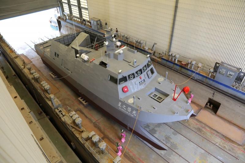 中科院籌建的「光榮之星」海上測試載台,外觀就像是小型的沱江艦。(圖:中科院提供)。