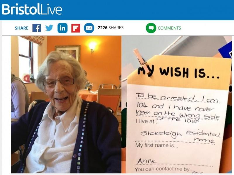 104歲奶奶安妮從未犯過罪,因此她許下希望能被警察逮捕的心願。(圖擷取自Bristol Live網站)