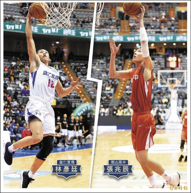 107學年度HBL高中籃球聯賽今天冠軍戰,能仁家商大戰南山高中。 (記者陳志曲攝)