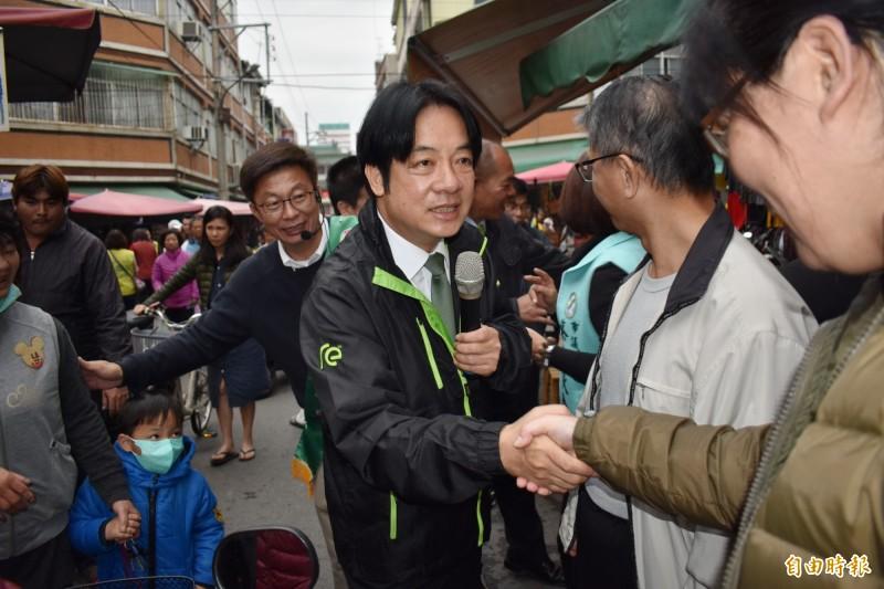 賴清德在台南市立委補選連20天賣力輔選郭國文。(資料照)