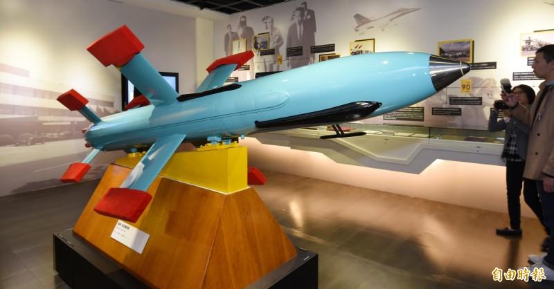 有阿根廷媒體指稱,2017年沉沒的阿根廷潛艦聖胡安號是遭魚雷、反艦飛彈攻擊,殘骸中還發現我國雄風反艦飛彈助推器,中科院特地發新聞稿嚴詞否認。圖為雄風一型反艦飛彈模型。(資料照,記者劉信德攝)