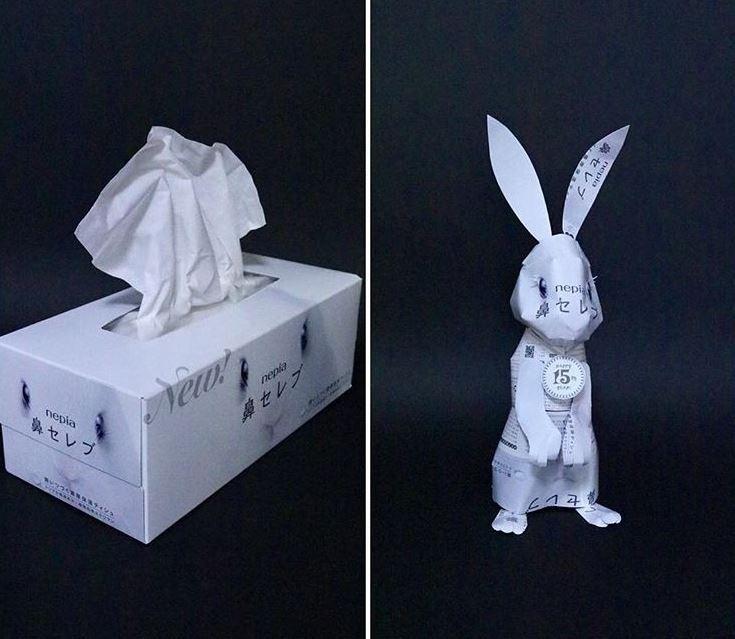 這名達人在使用印有兔子圖樣的面紙盒創作時,直接做出一隻白色的兔子紙雕。(圖擷自IG)