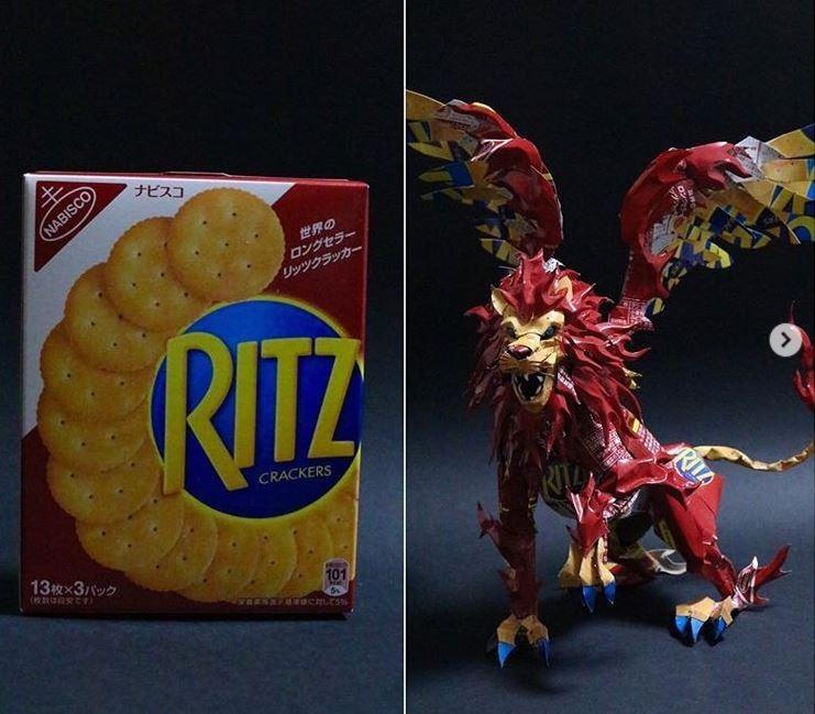 日本一位網友對各品牌的餅乾外盒進行改造,做出精緻的紙雕。(圖擷自IG)