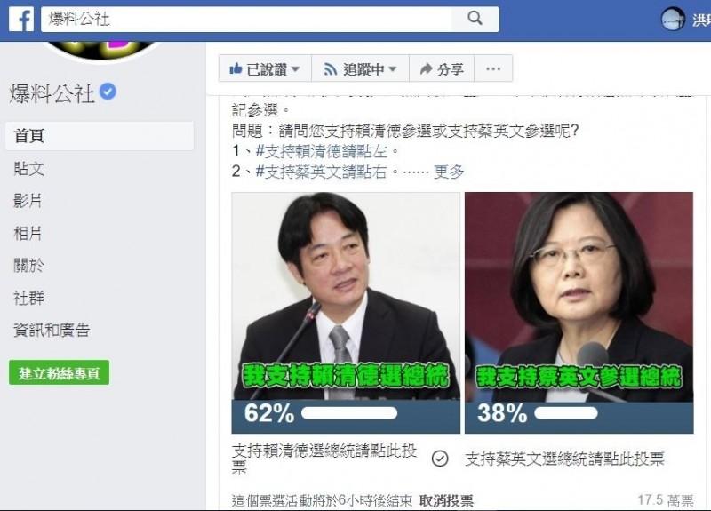 前行政院長賴清德宣布參加民進黨總統初選,各網路社群建立票選活動,展開非正式模擬票選中。(圖擷自爆料公社臉書)