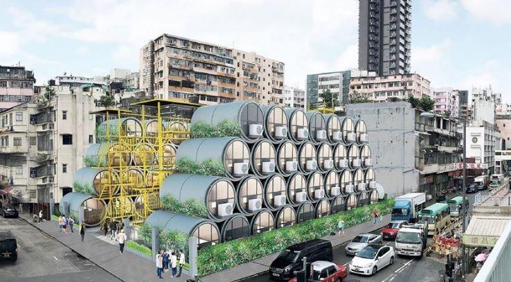 香港議員指出,近9成港人反對興建水管屋過渡性公宅,認為這沒辦法解決居住問題。(圖擷取自羅發禮建築師事務所)