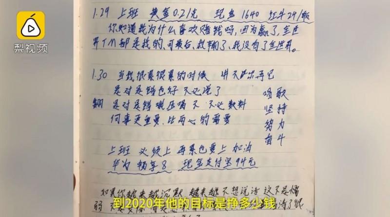 周男在日記中,寫下大量激勵自己努力竊盜的字句,讓警方看到哭笑不得。(圖擷取自梨視頻)