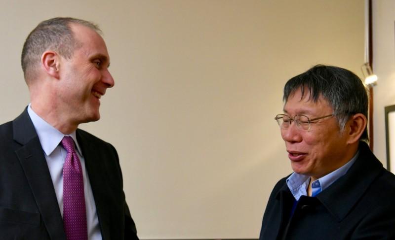 柯文哲前往美國國務院與代理副助卿史墨客(Hanscom Smith)會晤。(圖取自EAP Bureau推特)