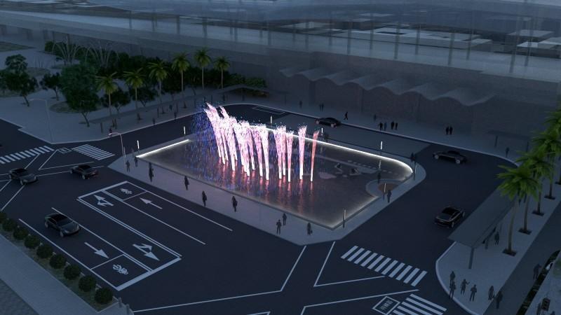 潘孟安表示,此工程將整合站前道路、路樹和噴水池景觀,提升屏東周邊環境。(圖擷取自潘孟安臉書)