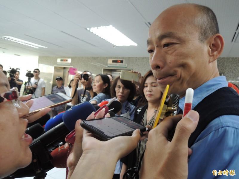 高雄市長韓國瑜昨接見澳門供應商聯合會一行人,過程中韓笑問自己在澳門的知名度,還打趣地說,「看來我可以到澳門選特首了」。(資料照)