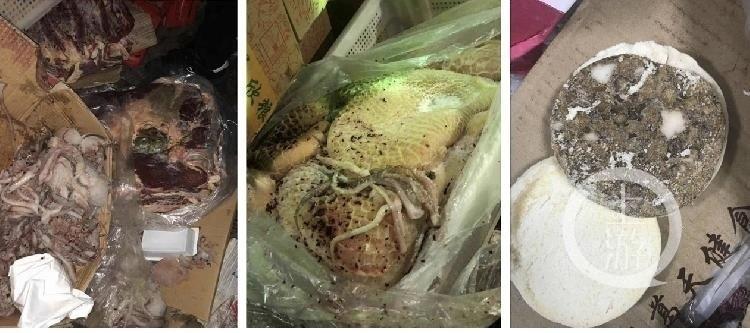 中國四川成都名校七中實驗學校的餐廳,日前遭家長踢爆長期使用發霉、變質食材,引發大批學生家長抗議及輿論關注。(圖擷取自微博)