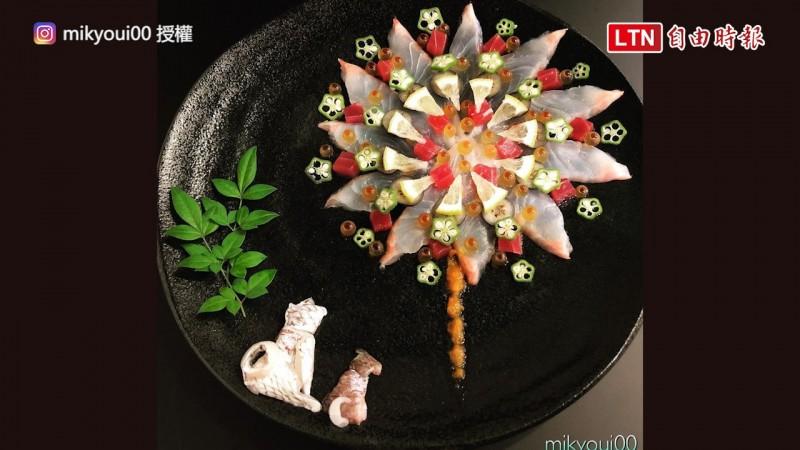 由日本美食藝術家mikyou創作的生魚片拼盤。(IG授權:mikyoui00)
