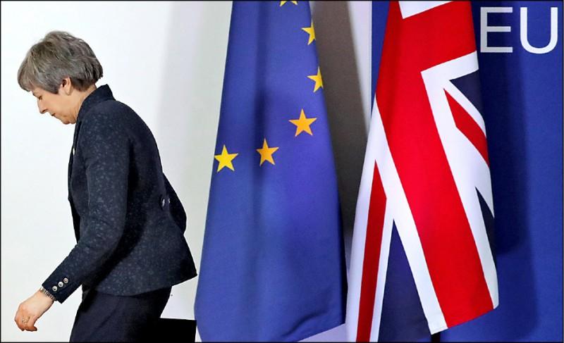 英國首相梅伊二十二日於布魯塞爾與歐盟領袖開會,歐盟同意有條件讓英國「延後脫歐」。(路透)