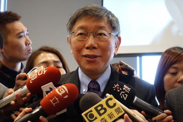 台北市長柯文哲自爆去年公投在同性婚姻上投下反對票,但仍允許在台北舉辦同志大遊行,強調台北是一個高度容忍的城市。(中央社)