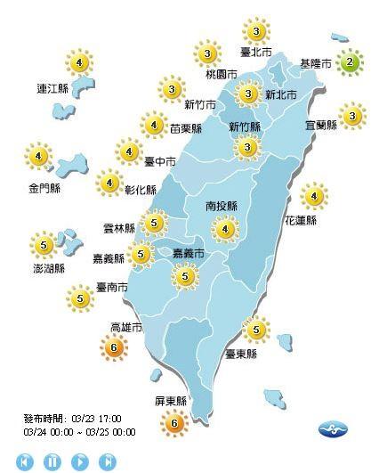 紫外線方面,明日除了基隆市為低量級;高雄市、屏東縣為高量級外,全台各地皆為中量級。(擷取自中央氣象局)