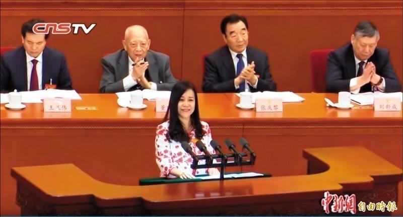 日前在中國全國政協會議上用高八度且極慢的語調歌功頌德中國,還自稱「台灣女孩」的凌友詩引起熱議。(資料照)